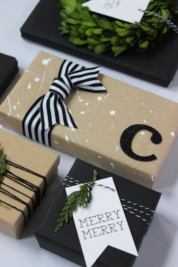 Kraft paper is always a beautiful gift wrapping choice. Add some white splatter paint to kraft paper to make the package a little more festive. More holiday gift wrapping inspiration on jane-can.com
