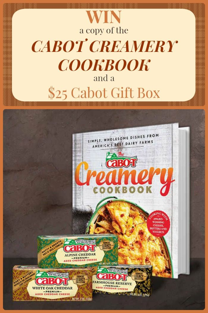 Win a copy of the Cabot Creamery Cookbook and a $25 Cabot Cookbook. Plus check out a collection of 20 Recipes featuring Cabot Cheese from aroud the web!