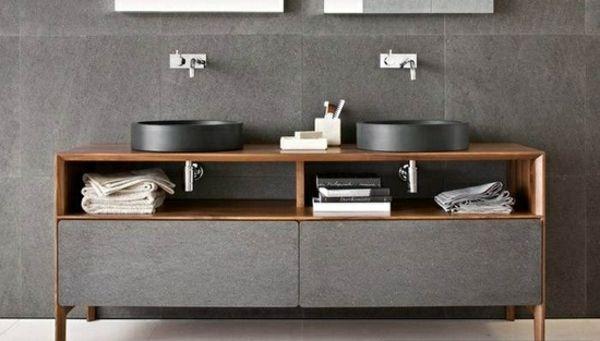 Bathroom vanity minimalist design stone wood
