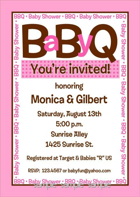 Baby BBQ Shower Invitations for Boy or Girl..really like this idea for a baby shower for both guys and girls to come to!