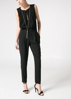 Draped neckline jumpsuit - Jumpsuits - Women - MANGO