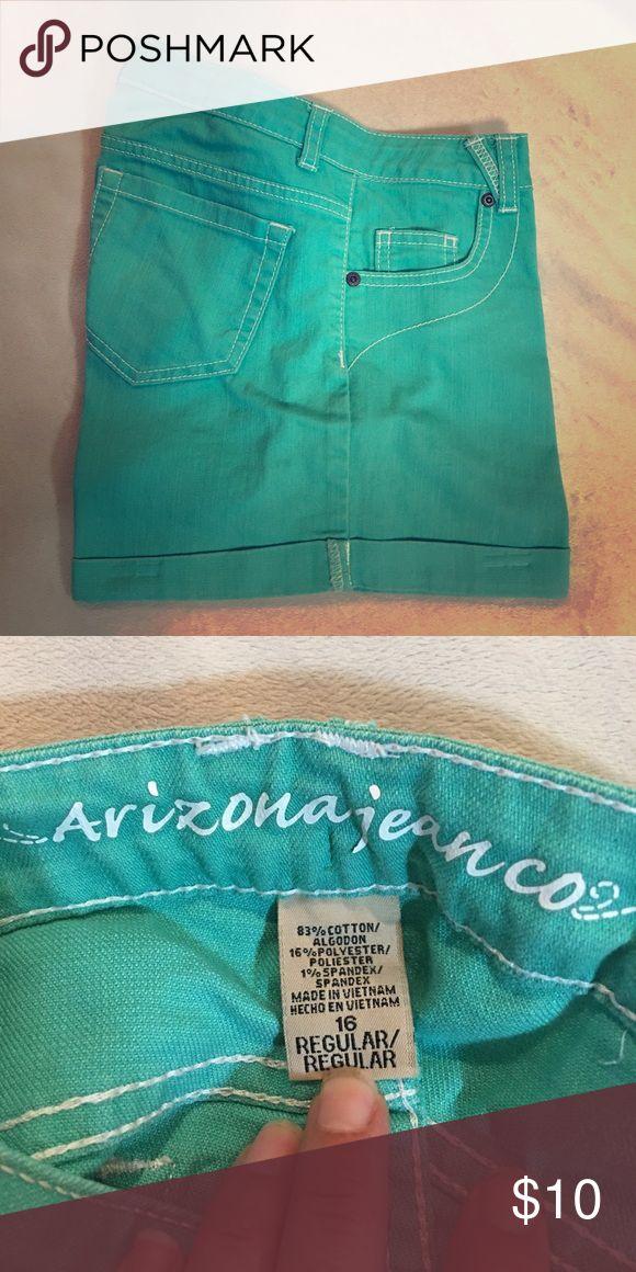 Youth 16, mint green/aqua shorts Arizona girls youth 16 shorts. Smoke free home. Don't dry my clothes Arizona Jean Company Bottoms Shorts