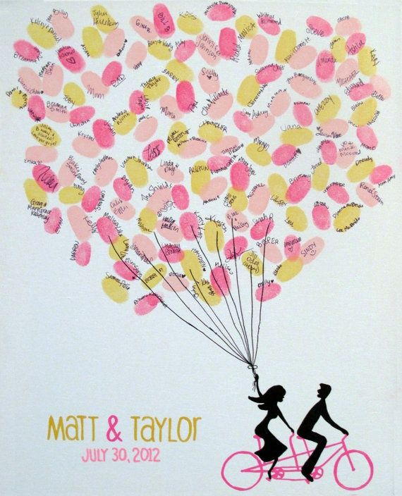 Canvas guest book sign in. So cute for a bike themed wedding! wedding-ideas.  Make sure you have a pen so guest can sign their name after they stamp their thumbprint.  Also have wipes or towel so guest can wipe the ink off of their thumb.