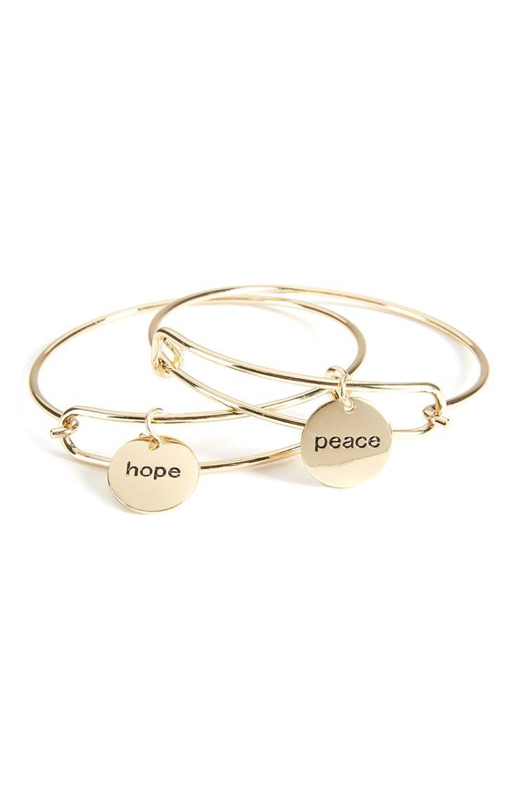 Lot de 2 bracelets avec breloques Hope et Peace