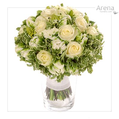 Green & White Rose & Tulip Spring Bouquet