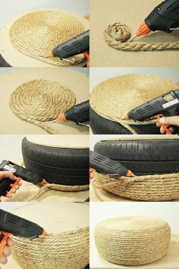 Fabriquer Un Pouf Corde Pneu Pistolet A Colle Forte Tuto Pouf Bricolagemaison Materielbricolage Bricolagefacile En 2020 Pouf Pneu Pouf Fait Maison Pistolet Colle