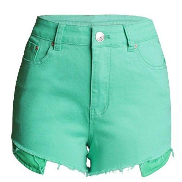 Fashionable Button Fly Fringe Embellished Women's Shorts (22 AUD) ❤ liked on Polyvore featuring shorts, fringe shorts, button fly shorts and embellished shorts