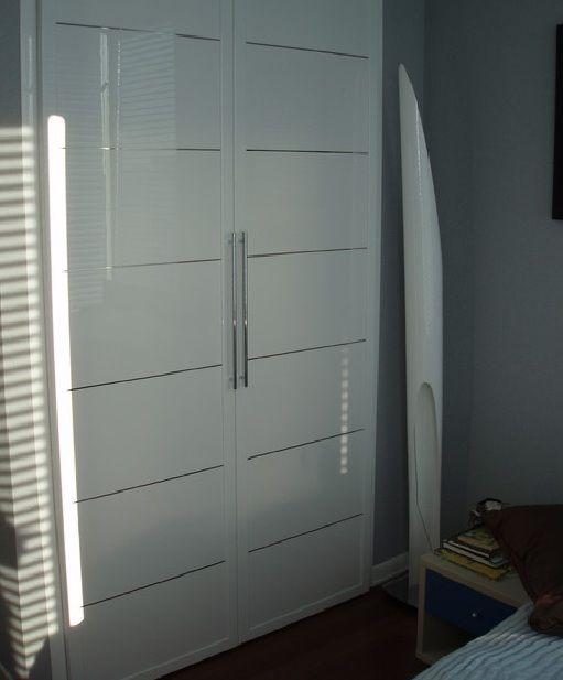Frosted glass closet doors with stainless steel door handles   Home Doors Design Inspiration - DoorsMagz.com