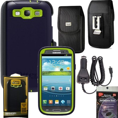 Otterbox Defender Case with Heavy Duty Car Charger,Anti Radiation Shield and Canvas Vertical Case for Samsung Galaxy S3 - Atomic Green/Navy Blue Bundle Pack 4 items: with Heavy Duty Car Charger, Canvas Vertical Case that fits your phone with the Otterbox on. Also comes with Anti Radiation Shield.. Case that fits your phone with the otterbox on it.. 5ft heavy duty car charger. Anti Radiation Shield... #OtterBox #Wireless
