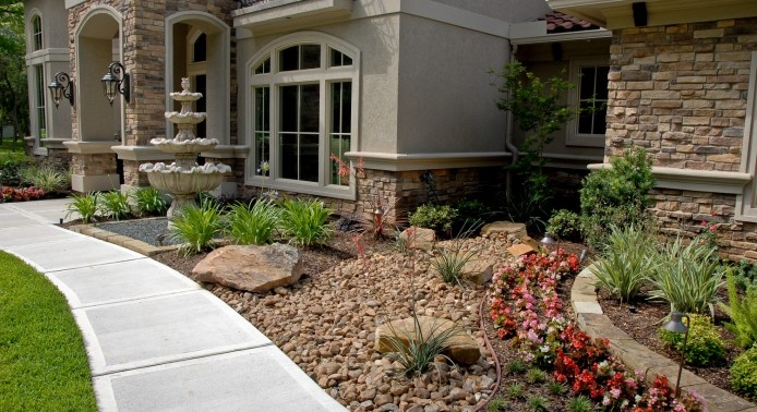 great shapes and size - using gravel. good plant choices