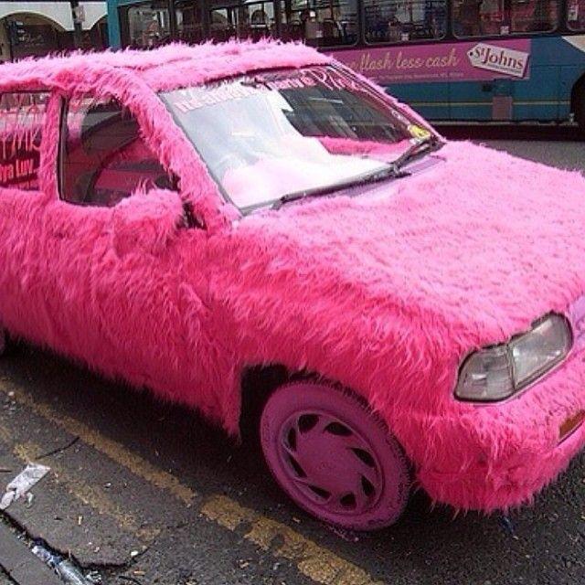 bright pink fur car exterior instincts pinterest