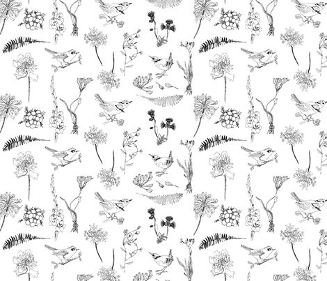 Birds white fabric by els_vlieger on Spoonflower - custom fabric