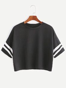 Black Dropped Shoulder Seam Varsity Striped Crop T-shirt