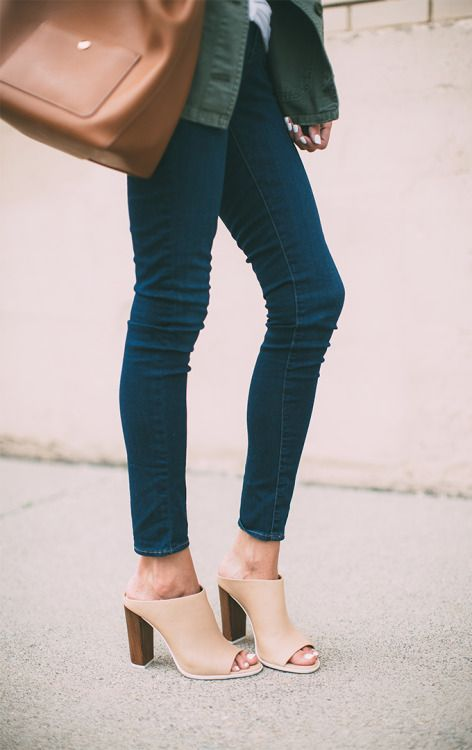 justthedesign:  Another good example of how to wear your skinny jeans with mules. The dark blue and tan works great together. Via Christine AndrewJeans: Topshop, Mules: Vince