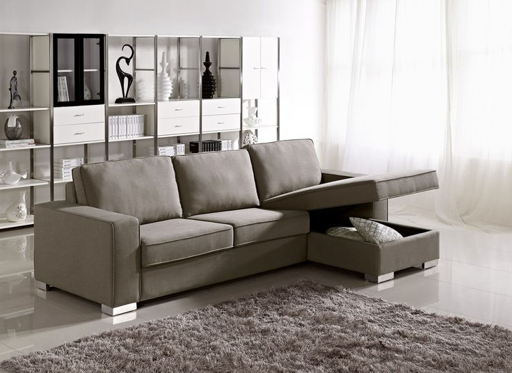 Apartment Size Grey Fabric Storage Sectional With Easy Pull Out Bed Houston Texas ESF1264 Living RoomsLiving Room FurnitureLiving