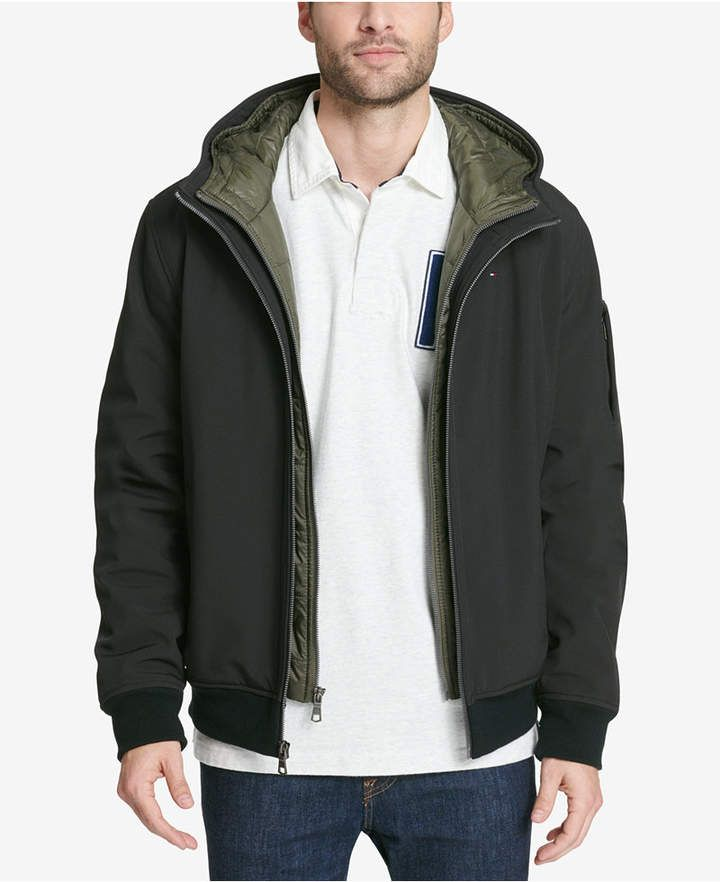 42cb65e6e Men's Big & Tall Hooded Soft-Shell Jacket with Inset Quilted Puffer ...