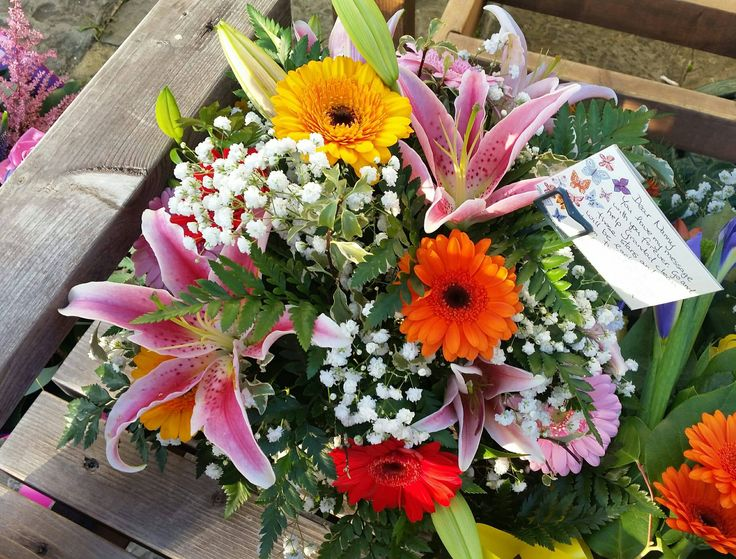 colourful lily and germini posy