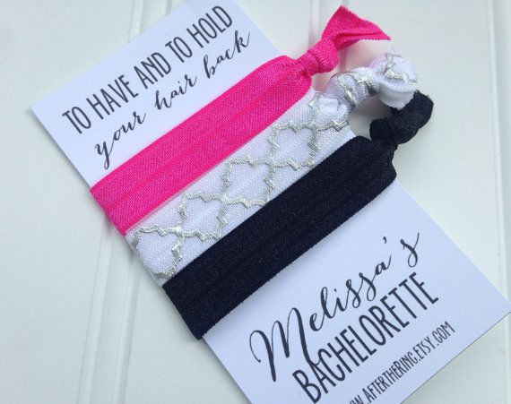 CUSTOM SET of 3 Hair Ties Bachelorette Party by AfterTheRing