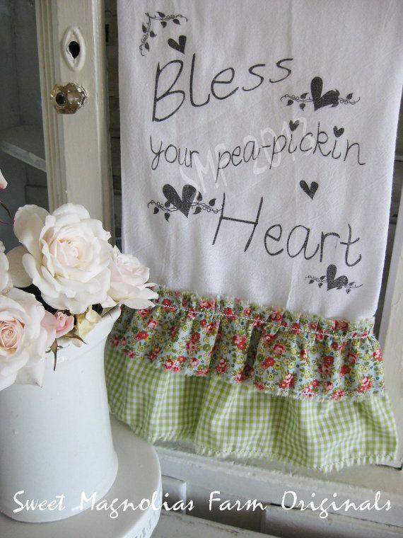"Flour Sack Kitchen Towel - Farmhouse Style Country Cottage Chic Ruffle Southern Saying ""Bless Your pea-pickin Heart""... Sweet Magnolias Farm"