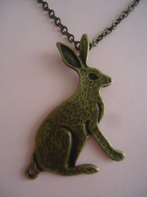 Antique Rabbit Necklace by TallulahStack on Etsy, $10.00