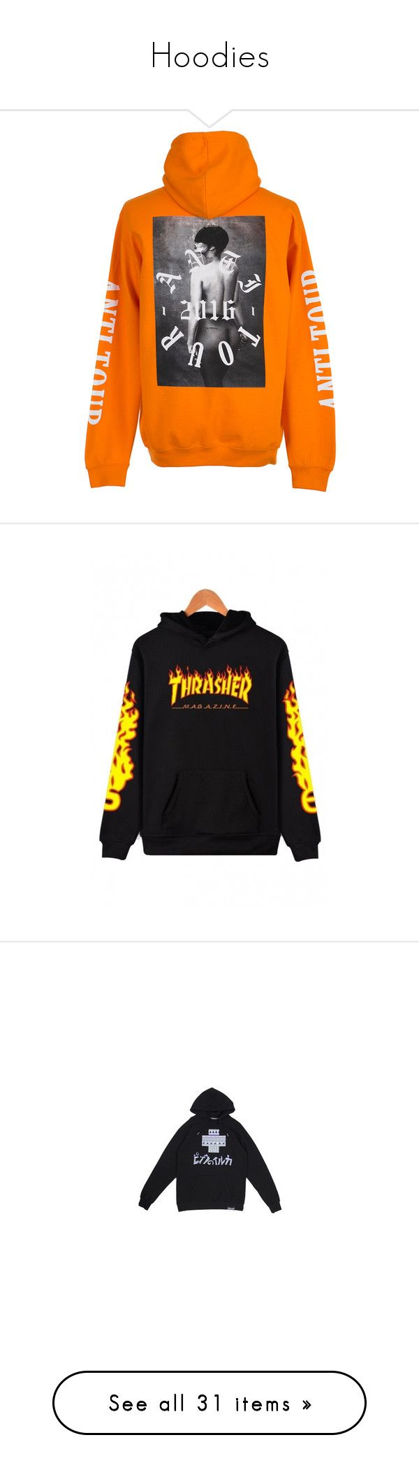 """""""Hoodies"""" by giselle123456 on Polyvore featuring tops, hoodies, jackets, sweaters, clothing - hoodies, orange hooded sweatshirt, hooded sweatshirt, orange hoodie, sweatshirt hoodies y hooded pullover"""