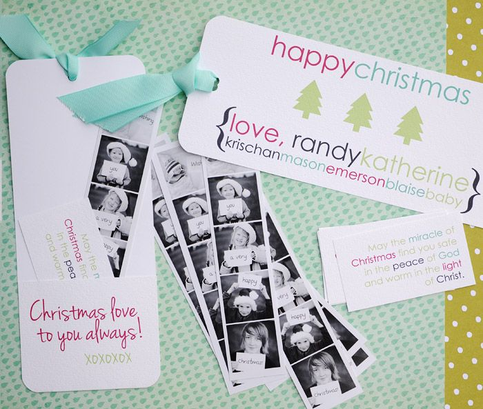 Cutest Christmas cards ever! Bookmark with a pocket in the back for a photostrip and Christmas message