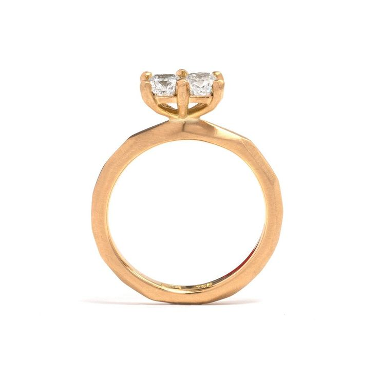 18ct yellow gold engagement ring set with two cushion cut white diamonds by Pieces of Eight artist Krista McRae, as part of her Soul Mate exhibition.