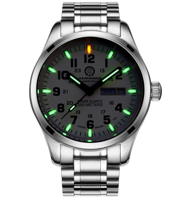 US $87.00 - Luxury tritium Luminous watch men Waterproof Sapphire glass Date Military Luminous Women Quartz watches relogio masculine