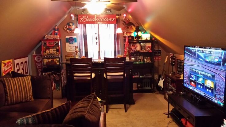 My Man Cave Finished room above garage Complete with bar 60