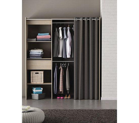 Rangements Composables - Armoire dressing extensible MOKA Chêne brossé, rideau gris