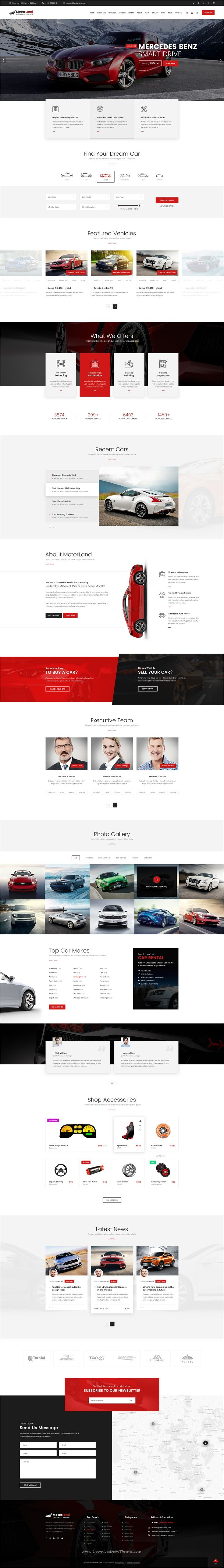 Motorland is clean and modern design #PSD template for #car dealer, renting, #workshop and auto accessories shop website download now..
