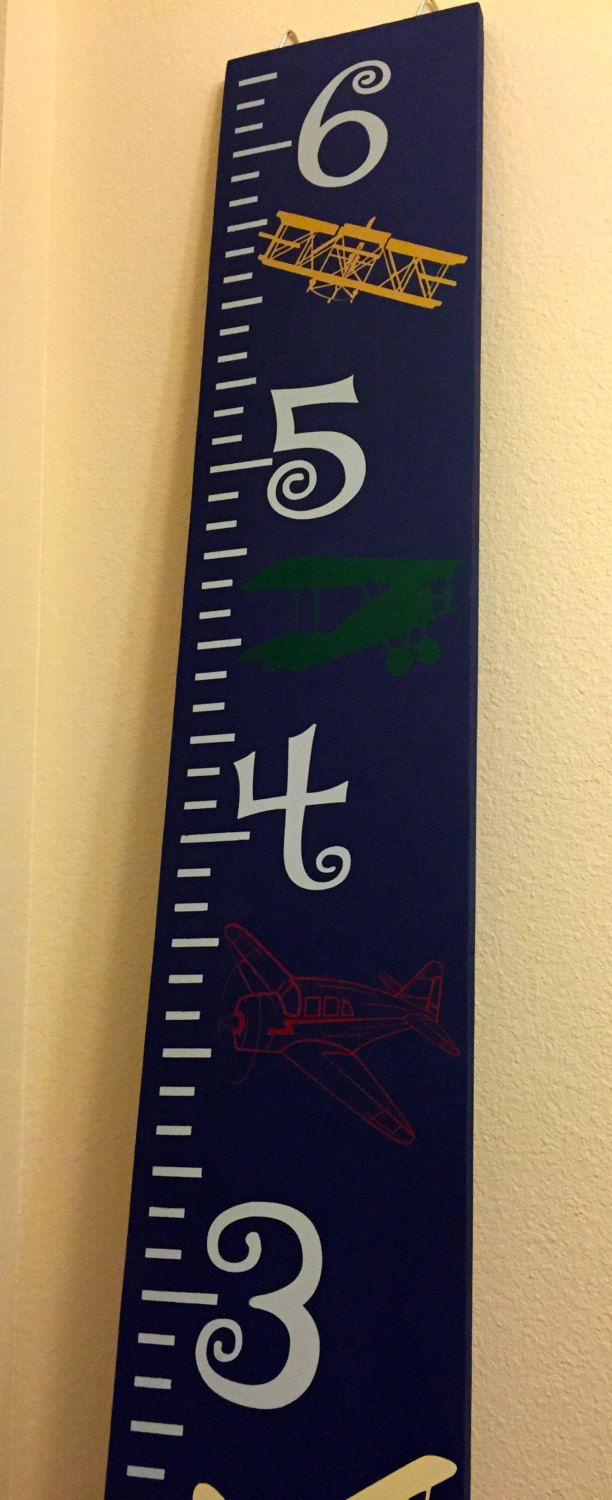 Vintage Airplanes Growth Chart Ruler, Measuring Board, Solid Wood Growth Chart. - pinned by pin4etsy.com