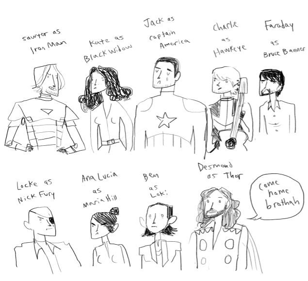 Avengers as LOST characters.: Lost Avengers, El Ems, Drawings, Favorite Things, Ems Ay, Lost Character, Awesome Desmond, The Avengers, Eye