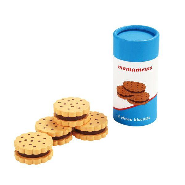 4 lækre chokoladekiks i træ fra Mamamemo. Leveres i et fint paprør med låg. Sjov legemad til brug i rolleleg med legekøkkener og teselskaber. Fra 3 år.