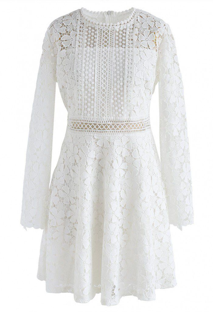 59ad64c03107 Floral crochet finished - Eyelet details - Scrolled cuffs - Concealed back  zip closure - Lined - 100% Polyester - Hand wash cold Size(cm)Length Bust  Waist ...