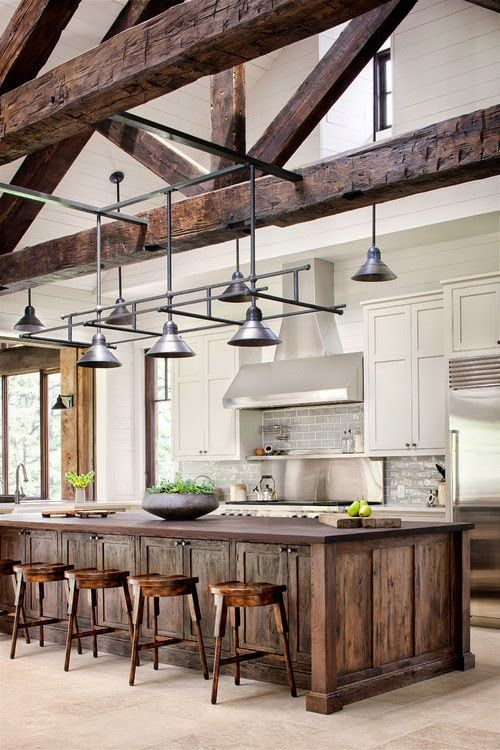 241 best ceiling trusses and arched beams images on pinterest future house cottage and Kitchen design lake house