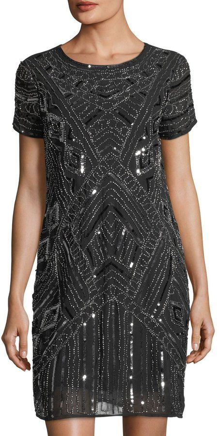 Neiman Marcus Beaded Chiffon A-Line Dress