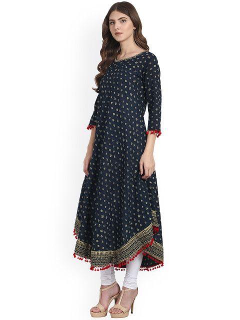631e5595a51 Nayo Women Blue Printed Anarkali Kurta - Kurtas for Women 2040267 ...