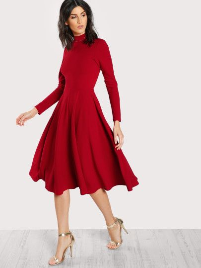 High Neck Fit & Flare Dress -SheIn(Sheinside)