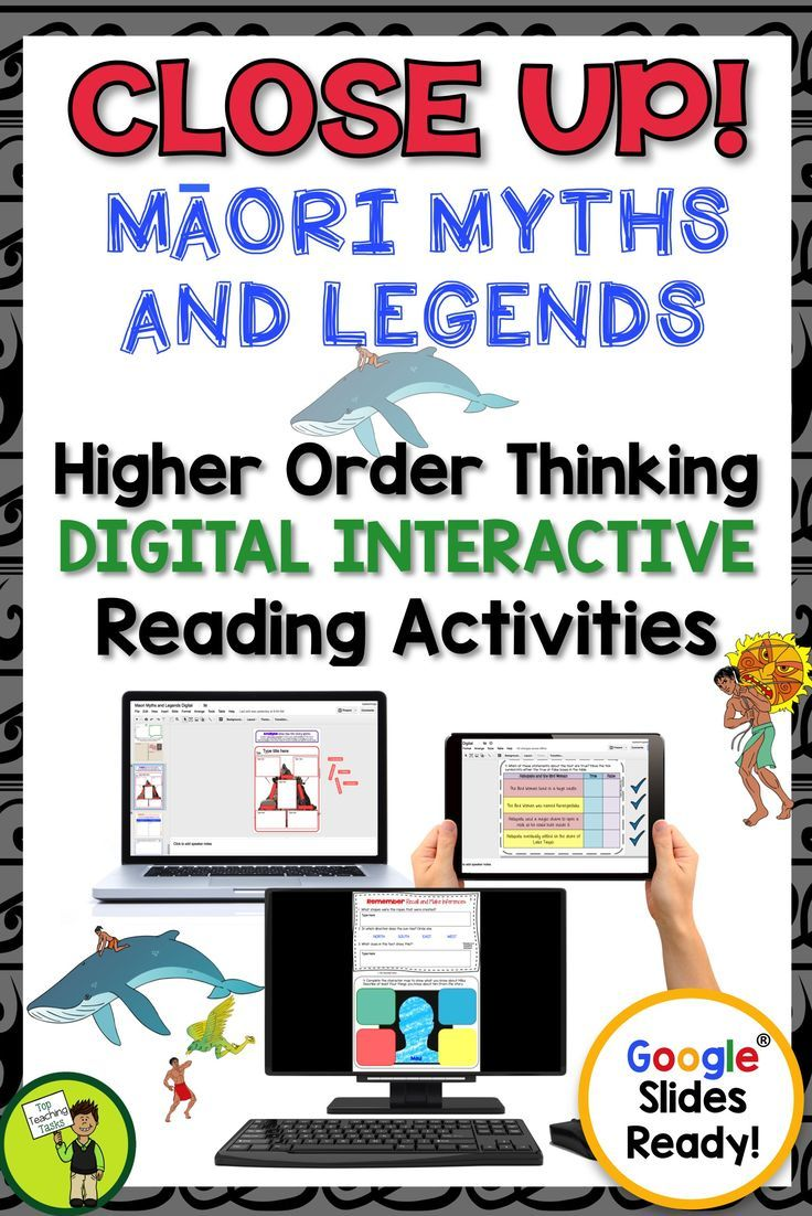 Go paperless with our Google Slides-ready reading comprehension resource! Teach traditional Maori myths and legends with differentiated reading passages and questions. This Google Resource includes four Year Five and Six narrative myth passages with six unique slides of engaging text dependent questions and higher order thinking interactive tasks.  Maori Language Week. Great for your guided reading program in both a traditional classroom, Google classroom or 1:1. #maori #mythsandlegends…