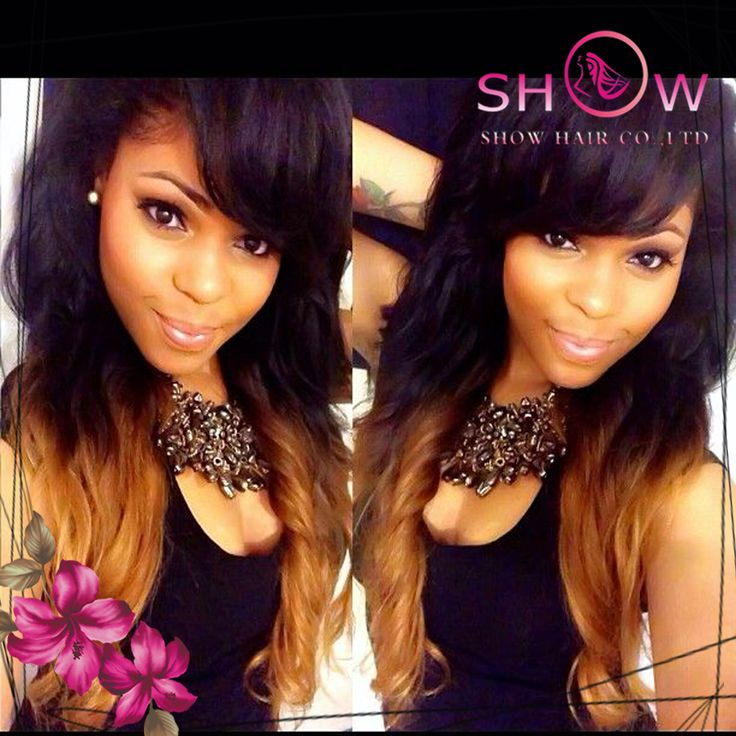 Beauty Fashion human Brazilian hair lace wigs front lace wigs with bangs side bangs ombre wigs ...