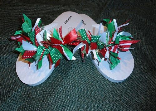 Flip Flops Womans 9/10 White with Red, Green and White Ribbon