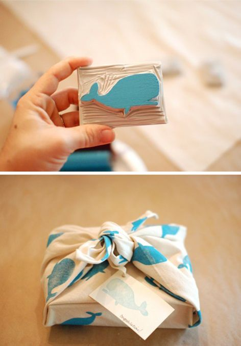 I didn't make my own stamp, but I will! I HAVE made a few table clothes, and gift-wrap from this idea though! :)
