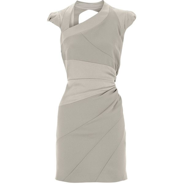 Karen Millen Asymmetric body con dress silver ❤ liked on Polyvore featuring dresses, body con dress, silver bodycon dress, silver dresses, body conscious dress and asymmetrical dresses