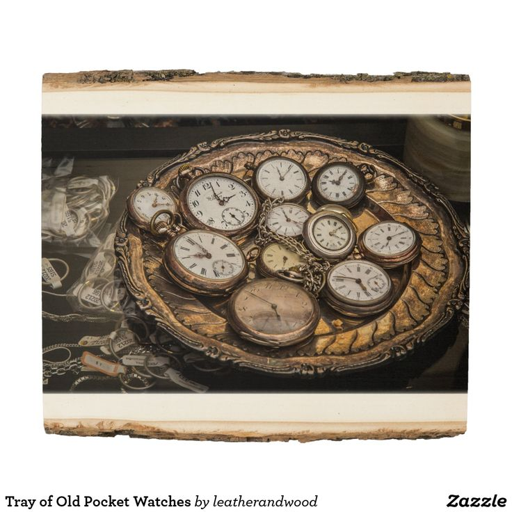Tray of Old Pocket Watches Wood Panel