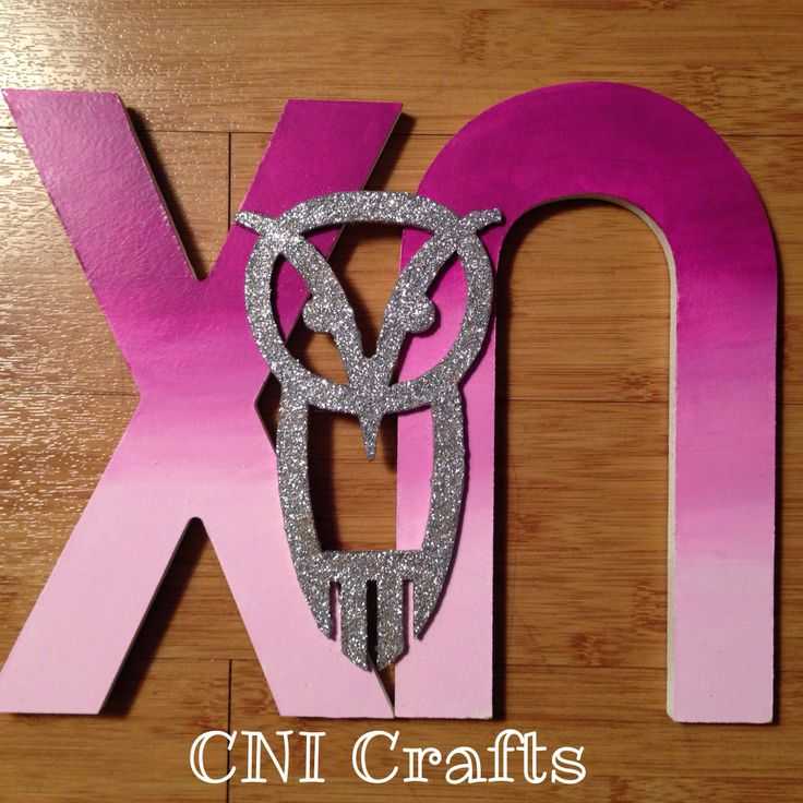 Ombré Chi Omega letters with Glitter Owl CNI Crafts