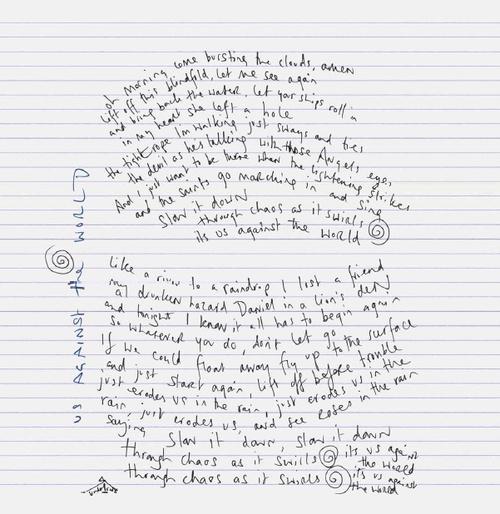 Chris Martin's handwritten lyrics to Us Against the World - my fav MX song!