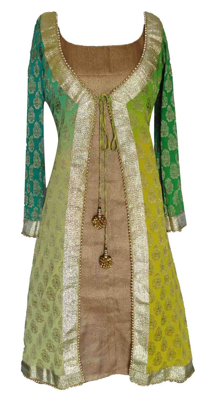Sneha Jain -- Green Shaded Kurti  .... could make this with African print and plain basin.