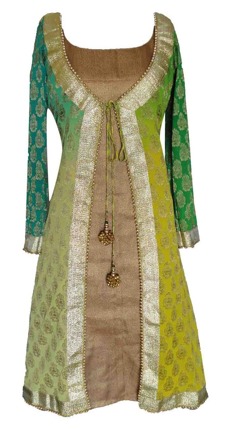 Sneha Jain -- Green Shaded Kurti .... could make this with African print and plain basin.