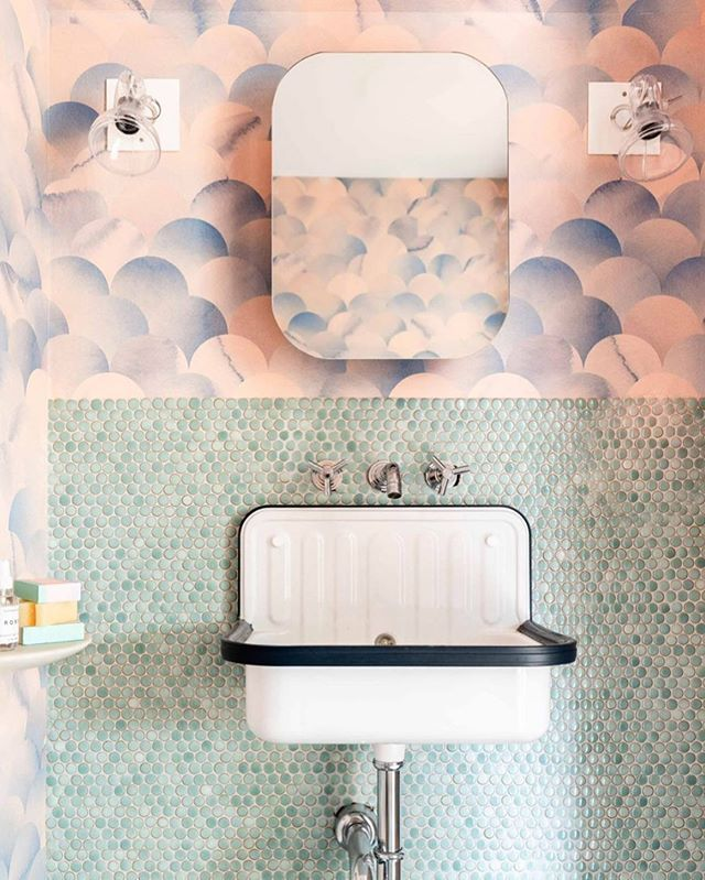 Renovator S Notebook On Instagram Hey Tylerelizabethkaru Why D You Choose That Tile And Wallpaper Combo Fo Bathroom Inspiration Powder Room Bathroom Design